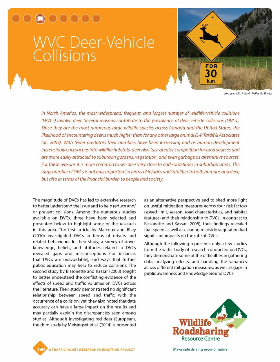 WVC Deer-Vehicle CollisionsResearch Handout