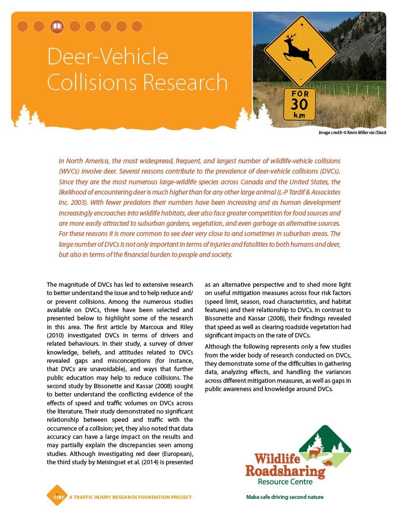 WVC Deer-Vehicle CollisionsResearch Handout